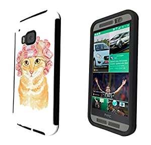 937 - Cool cute fun cat kitten felibe pet love curlers funny illustration art ginger cat Design htc One M9 Full Body CASE With Build in Screen Protector Rubber Defender Shockproof Heavy Duty Builders Protective Cover