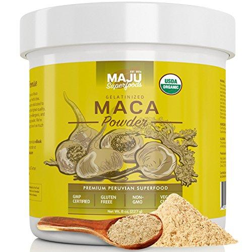 MAJU's Organic Maca Powder, Gelatinized to Remove Starch, Peruvian, Non-GMO, Purest & Best Tasting Maca Root Powder