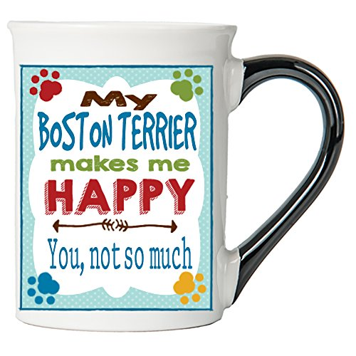 Ceramic Terrier Boston - Cottage Creek Dog Mug Large 18 Ounce Ceramic My Boston Terrier Makes Me Happy Coffee Mug/Dog Gifts Terrier Gifts [White]