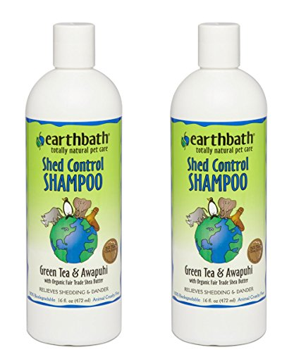 Earthbath All Natural Green Tea Shampoo Shed Control for Pets Dogs Cats (2 Pack), 16 oz
