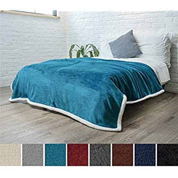 PAVILIA Premium Sherpa Fleece Blanket Twin Size   Soft, Plush, Fuzzy Turquoise Throw   Reversible Warm Cozy Microfiber Solid Bed Blanket (Sea Blue, 60x80 Inches)