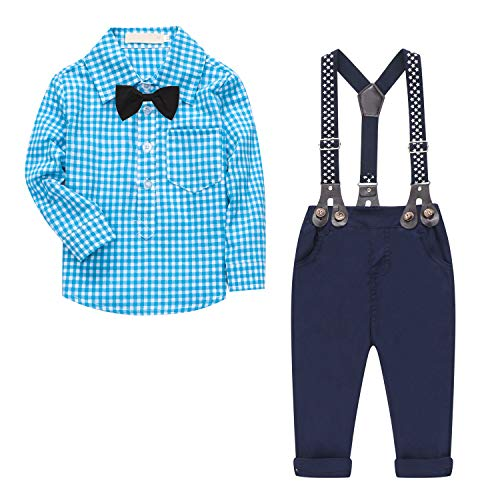 - SANGTREE BABY Baby Boy's 2 Pieces Tuxedo Outfit, Long Sleeves Plaids Button Down Dress Shirt with Bow Tie + Suspender Pants Set for Infant Newborn Toddlers, Blue, for 12-18 Months = Tag size 90
