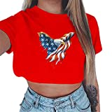 iSovze Independence Day for Women T-Shirt Women's Fashion Printing Round Neck Comfortable Short Sleeve T-Shirt