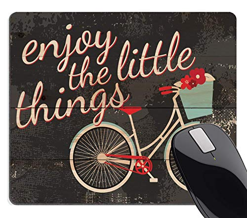 Wknoon Vintage Design Positive Inspirational Quote Gaming Mouse Pad, Enjoy The Little Things Retro Bicycle Rustic Distressed Wood Look Art