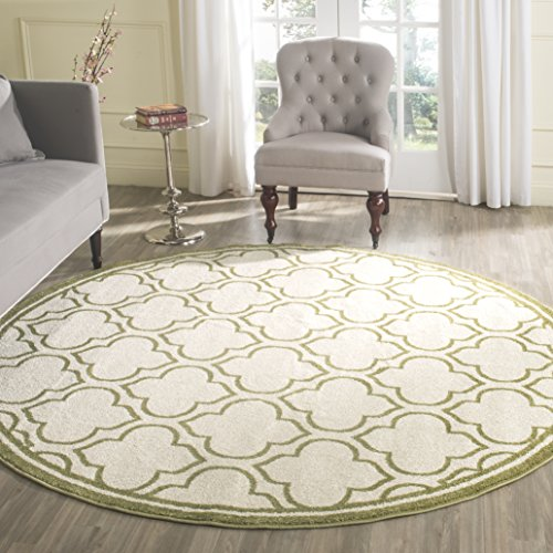 Safavieh Amherst Collection AMT412A Ivory and Light Green Indoor/ Outdoor Round Area Rug (7' - Rug Green Ivory