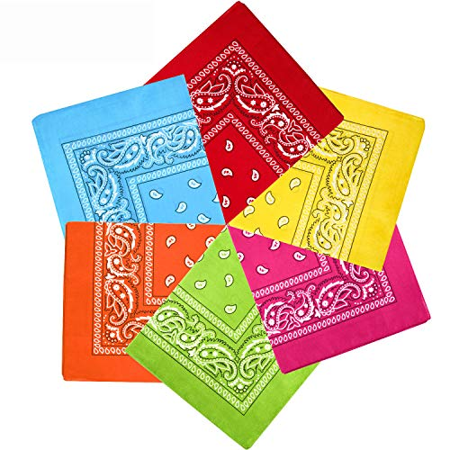 Paisley Bandanas Cowboy Bandanas Unisex Novelty Print Head Wrap Scarf Wristband for Adults and Kids (Multicolor A, 6 Pieces)
