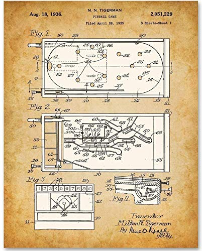 Pinball - 11x14 Unframed Patent Print - Makes a Great Gift Under $15 for Game Room Decor ()