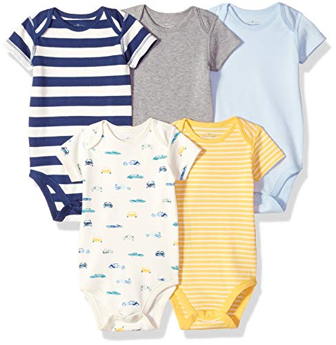 Moon and Back Baby Set of 5 Organic Short-Sleeve Bodysuits, Cars, 24 Months