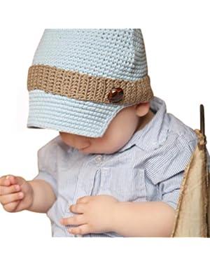 Melondipity Boys Blue Crochet Newsboy Baby Hat - Visor Beanie with Brown Stripe