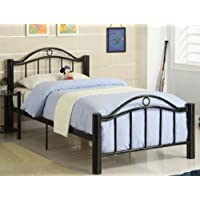 TWIN SIZE METAL BED W/ SLAT DESING IN BLACK FINISH BY POUNDEX