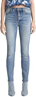 product image for MOTHER The Fly Cut Stunner Ankle Fray Women's Designer Denim Jeans - Nights on a Shiny White Vepsa wash - Made in The USA