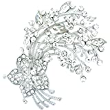 Brooches Store Silver & Crystal Floral Spray Brooch