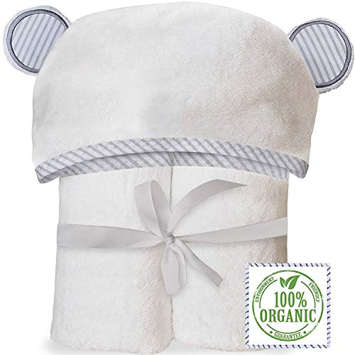 Organic Bamboo Hooded Baby Towel - Soft, Hooded Bath Towels with Ears for Babies, Toddlers - Hypoallergenic, Large Baby Towel   Perfect Baby Shower Gift for Boys and Girls by (Long Organic Plush)