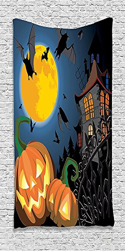 Cotton Microfiber Bathroom Towels Ultra Soft Hotel SPA Beach Pool Bath Towel Halloweenations Collection Gothic Scene with Halloween Haunted House Party Theme Trick or Treat Kids (Frozen Trick Or Treat Bucket)