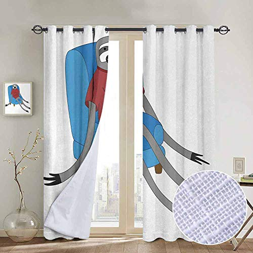 (Blackout Curtains Sloth,Urban Sloth T Shirt with Inscription Who Cares Procrastination Laziness Idleness,Blue Grey Ruby,Thermal Insulated Panels Home Décor Window Draperies for Bedroom a100
