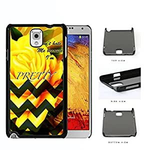 Yellow Rose Flower And Green Chevron Don't Hate Me Script Hard Plastic Snap On Cell Phone Case Samsung Galaxy Note 3 III N9000 N9002 N9005
