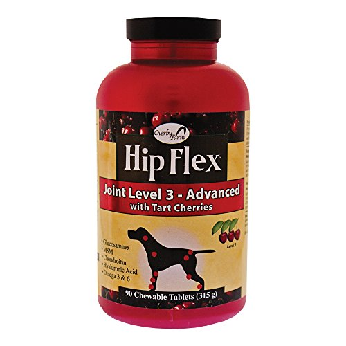 NaturVet Overby Farm Hip Flex Joint Level 3 Advanced Care with Tart Cherries for Dogs, Chewable Tablets, Made in USA (90 Count)