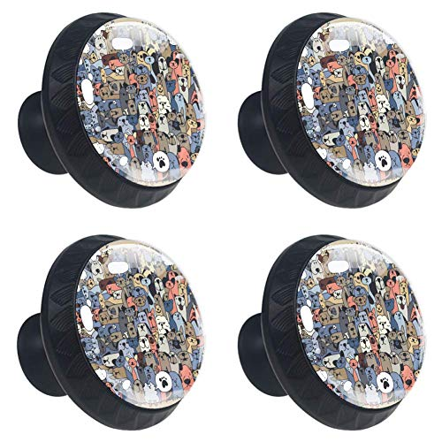 jessgirl Cute Dogs Cats Group Drawer Knobs Handles Pulls for Cupboard Dresser Office with Screws DIY(Pack of 4) ()