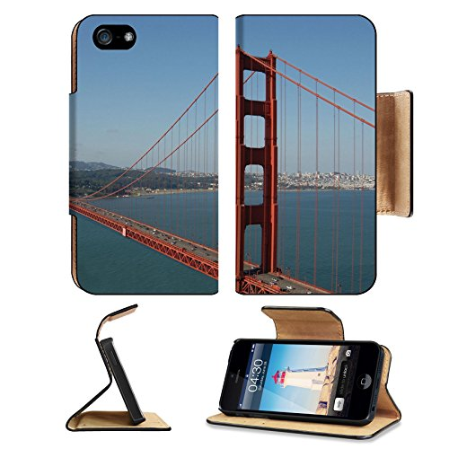 Liili Premium Apple iPhone 5 iphone 5S Flip Pu Leather Wallet Case iPhone5 IMAGE ID: 639404 Golden Gate from Marin Headlands San Francisco - Headlands Glass