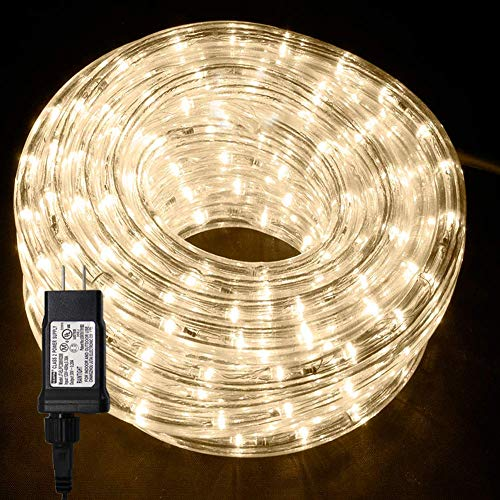 Twinkle Star 33 FT 240 LED Rope String Lights Plug in Fairy String Lights Waterproof Rope Lights Decor for Outdoor, Party, Christmas, Garden, Wedding (Warm White)