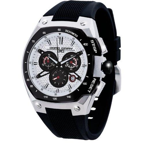 Jorg Gray JG8300-22 Black Silver Patterned 3 Hand Mens Wrist Watch