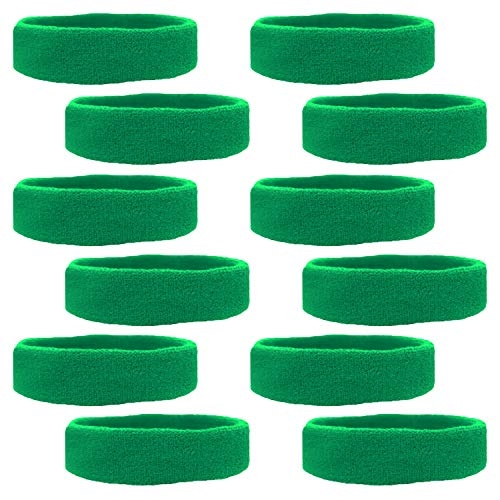 Sweatband Athletic - Kenz Laurenz 12 Sweatbands Cotton Sports Headbands Terry Cloth Moisture Wicking Athletic Basketball Headband (12 Pack) (Green 12 Pack)