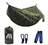 """Why choose our camping hammock from so many hammock on Amazon? Larger and Comfortable: Compare to the other hammocks,our hammock is a double hammock(size: 118"""" x 78""""), more larger than other single hammock,fit for 2 people Lay down comfortably and st..."""