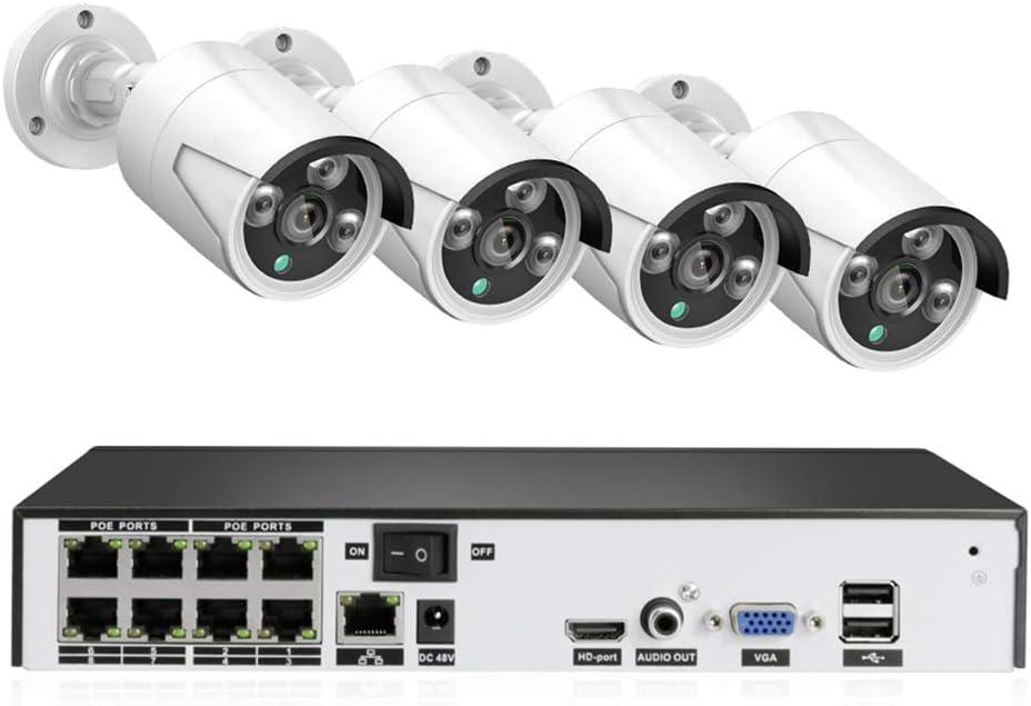 XZYP Sistema De Cámaras De Circuito Cerrado De Televisión Sistema H.265 PoE NVR Kit 8CH 4 MP Cámara Impermeable De La Bala del IP del PoE Inicio De Seguridad Exterior De Bajo Consumo