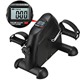 Apelila Foldable Pedal Exercise Machine w/LCD Display, Fitness Cycle Digital Exerciser Bike Stationary (Black)
