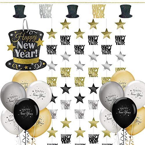 Happy Year New Hat Top (The Ultimate Black And Gold Happy New Years Eve Party Decorations Pack With Glitter Hat Sign Perfect For Door or Inside, 15 New Years Balloons, And 7 Feet Long Happy New Year Strings Decorations Perfect For Doorways and Pictures!)