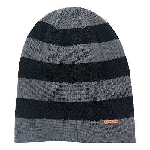 - LETHMIK Stripe Knit Skull Beanie Warm Winter Hat Unisex Acrylic Cap Dark Grey