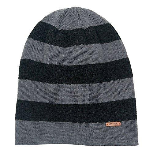 lethmik Stripe Knit Skull Beanie Warm Winter Hat Unisex Acrylic Cap Dark (Cosy Winter Warmer)