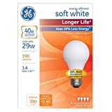 GE Lighting 70287 Soft White Long Life 29-watt (40-watt Replacement), 390-Lumen A19 Light Bulb with Medium Base, 4-pack