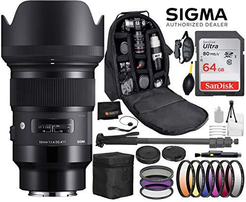 Sigma 50mm F1.4 Art DG HSM Lens for Sony E Mount Cameras with Professional Bundle Package Deal – 9 pc Filter Kit + SanDisk 64gb SD Card + Backpack + More
