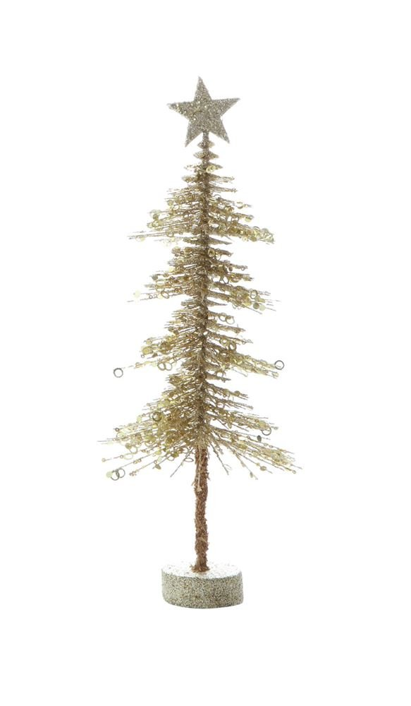 Heart of America Plastic Pine Tree With MDF Base Gold Glitter - 6 Pieces