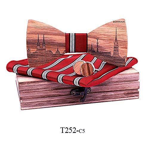 Wood France Bordeaux Skyline Wooden Bow ties Butterfly Gravata Skyline Ties For Men Cufflinks noeud papillon,T252-C5