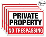 Private Property No Trespassing Metal Sign (4 Pack), 10'' x 7'' Rust Free .040 Aluminum Sign – Reflective – Weatherproof - Easy to Mount - Indoor & Outdoor use
