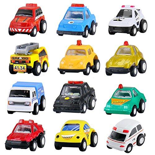 BBLIKE 12 Pull-back Mini Cars Construction Vehicles Set Toys Police Car, Cake Decoration Plastic Model Toy Sets Classic Construction, Vehicle Play Trucks 3 Year Old