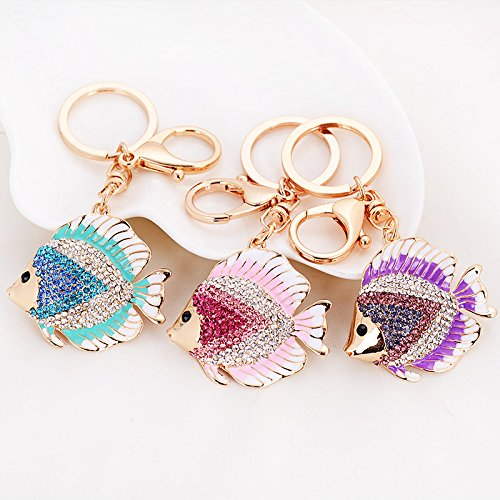 Rhinestone Blue Pendent Crystal Blue Lovely Keychain Accessories Colored Qinlee Women Bag Handbag Beautiful Keyrings Wallets Diamond Fish Purse Charm wxPFqxUv