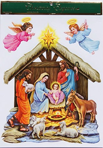 Window Scenes For Christmas - Christmas Elegance Classic Nativity Scene Glittery Window Clings - 11 x 15