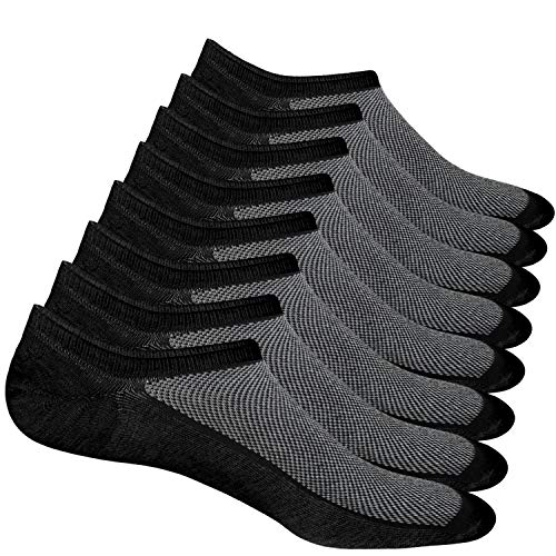 8 Pairs No Show Socks Men Low Cut Non-Slip Invisible Casual Loafer Boat Socks (Black, S/M(US Men Shoes Size 6-11))