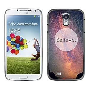 Caucho caso de Shell duro de la cubierta de accesorios de protección BY RAYDREAMMM - Samsung Galaxy S4 I9500 - Believe Universe Milky Way Cosmos Inspiring