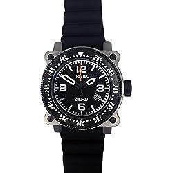 Trintec Aviation ZULU-07 PRO Men's Navigator Stainless Steel Watch with Rubber