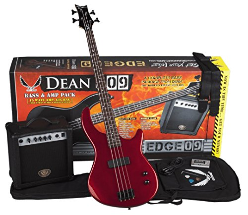 Dean Edge 09 Bass and Amp Pack with Metallic Red Dean Edge 09 Bass Guitar, Bass Amp, Gig Bag, Tuner, Cord, Strap, and Picks from Dean Guitars