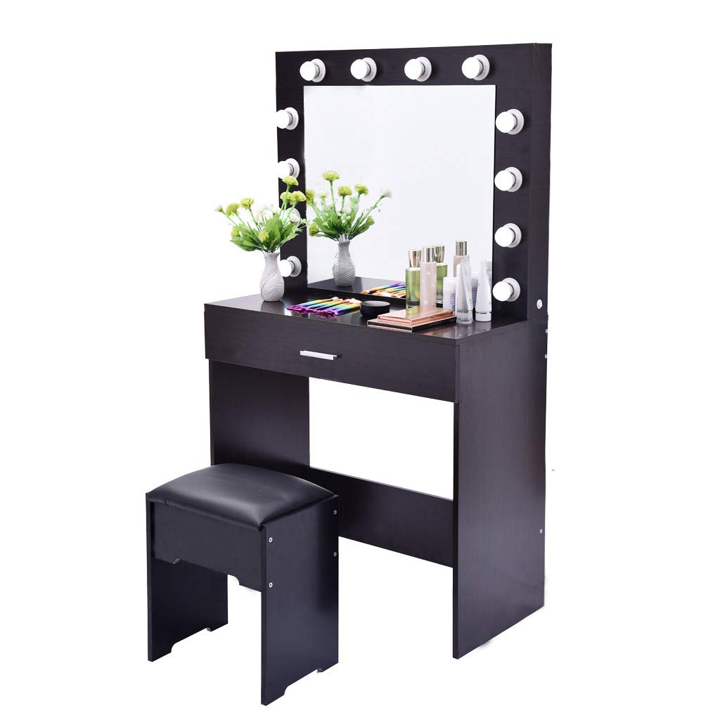 Fine Vanity Table Set Mirror with LED Lights, Dressing Table and Stool Set with Drawers Removable Top Organizer Multi-Functional Padded Stool Large Bedroom Vanities (Black Walnut) by Fine