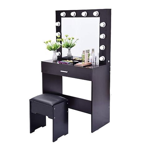 Amazon.com: Miklan Vanity Set with Lighted Mirror, Makeup ...