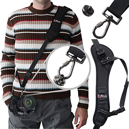 Adjustable Camera Shoulder Strap with Quick Release Plate, Comfortable Long Sling Neck Belt for All DSLR Camera Nikon Canon Universal - ()