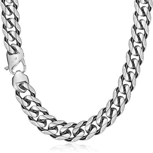 Trendsmax 15mm Heavy Polished Silver Tone Cut Curb Cuban Mens Chain Boys 316L Stainless Steel Necklace 22inch