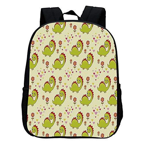 Dinosaur Durable Kindergarten Shoulder Bag,Cute Dinosaur Characters with Spring Meadow Flowers Hearts Decorative For school,11.8
