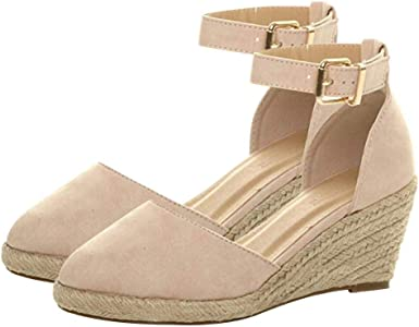 Womens Wedge Sandals Ankle Strap Closed
